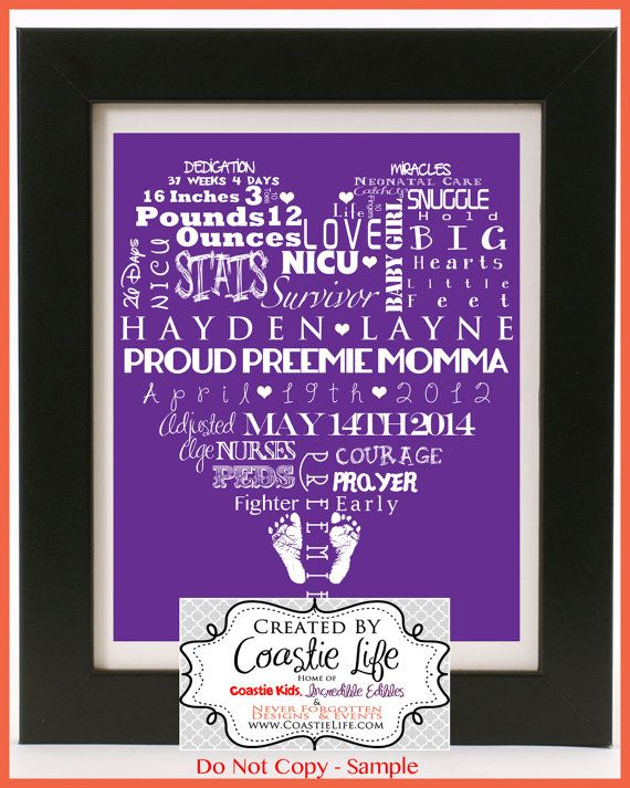 Customized Word Art for Preemie Moms and Nurseries  by CoastieLife