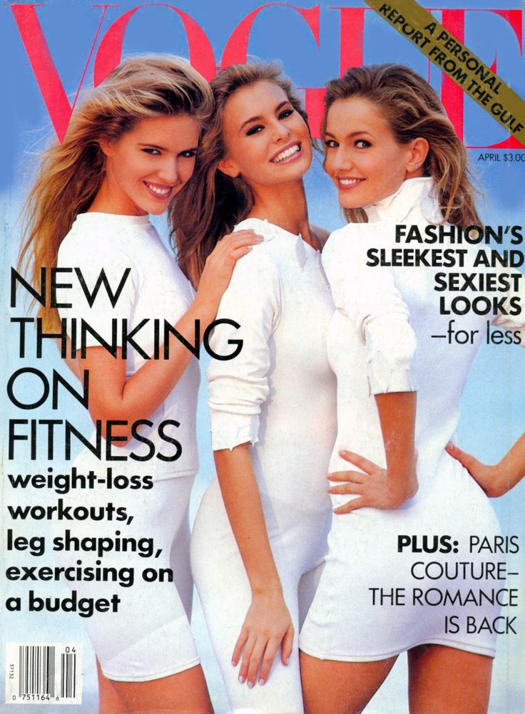 Judit Mascó, Niki Taylor, and Karen Mulder, photo by Patrick Demarchelier, Vogue US, April 1991*