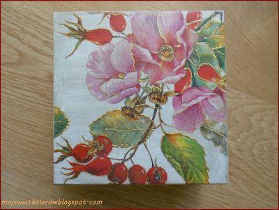 Mój świat kolorów...: Pudełko z polnymi różami...