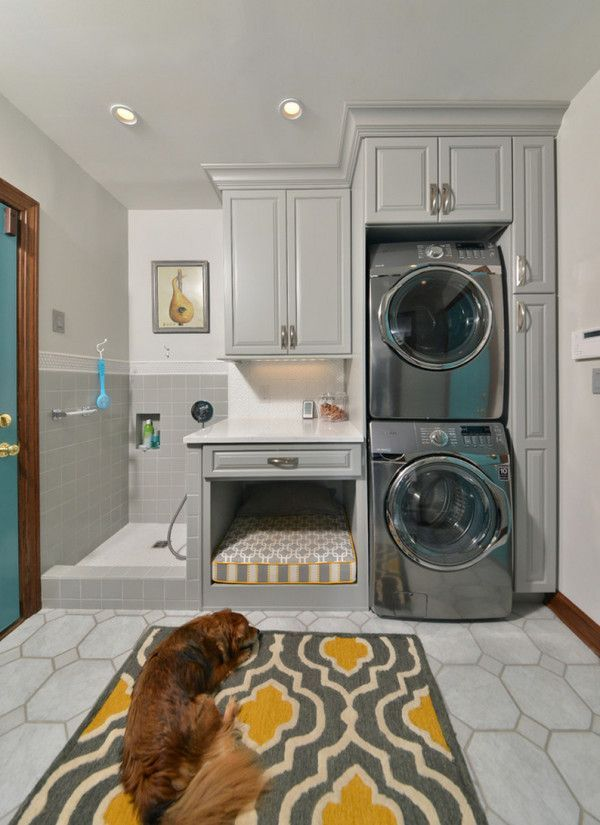 If you have extra cupboard space, you can turn it into a comfortable dog bed. Additionally, by using stackable washer/dryer sets, you allow extra space for convenient dog showers.