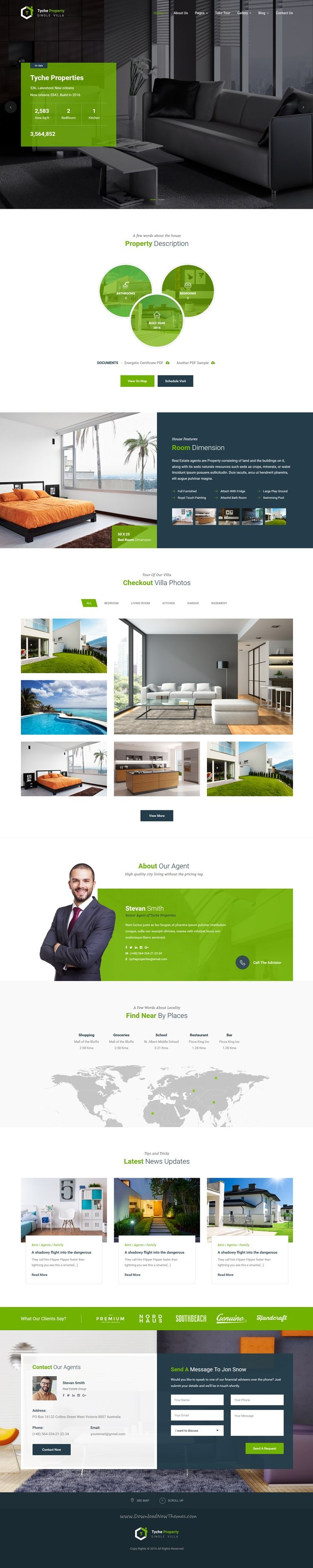 tyche properties single property real estate html template real estate website designclean - Apartment Website Design