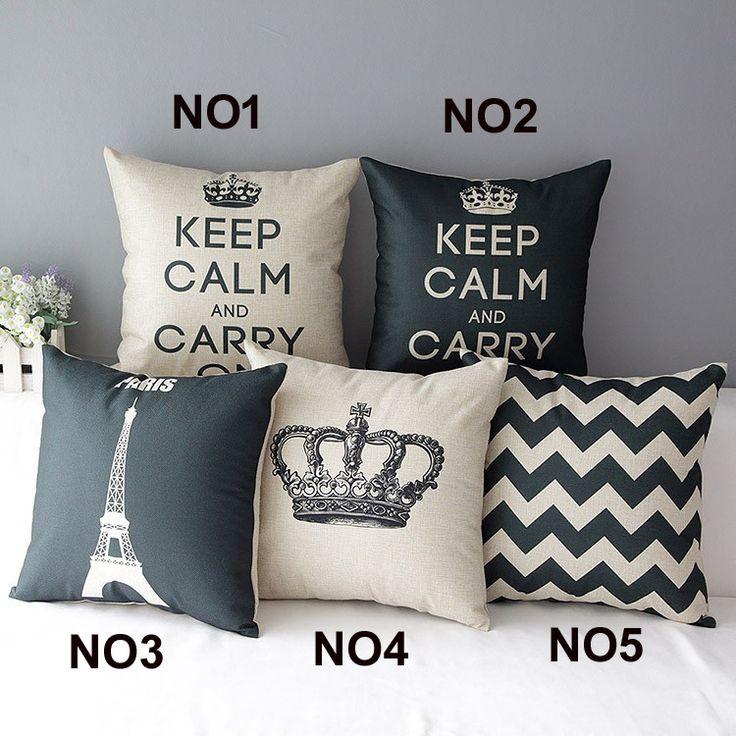 """18 """" britânico Retro Plain Cotton Linen capa de almofada Ikea sofá decorativo descanso de lance cadeira casa assento de carro fronha almofadas alishoppbrasil"""