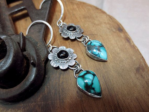 Orchid large sterling silver earrings - turquoise earrings sterling silver