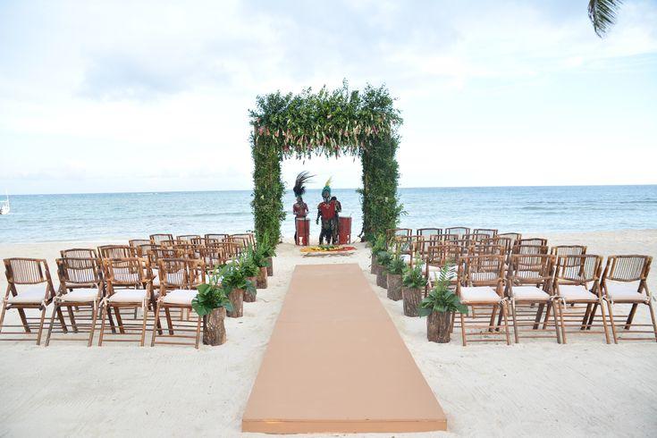 Lush green Mayan Ceremony setup on the beach here at Dreams Tulum Resort & Spa! #BeachCeremony #MayanCeremony #DestinationWedding #DreamsTulum #TulumWedding