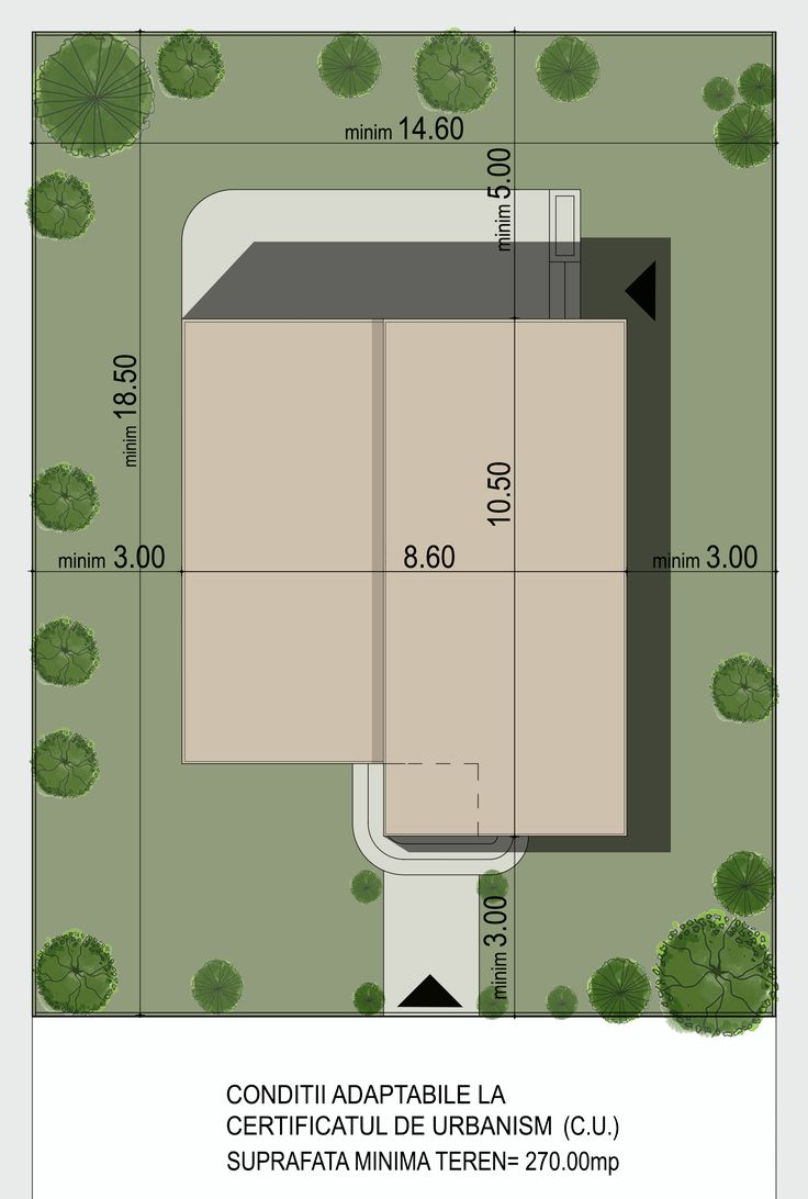 Locuinta unifamiliala moderna, cu acoperis tip terasa, organizata parter si etaj- Plan de situatie | Modern single-family dwelling- Site plan |