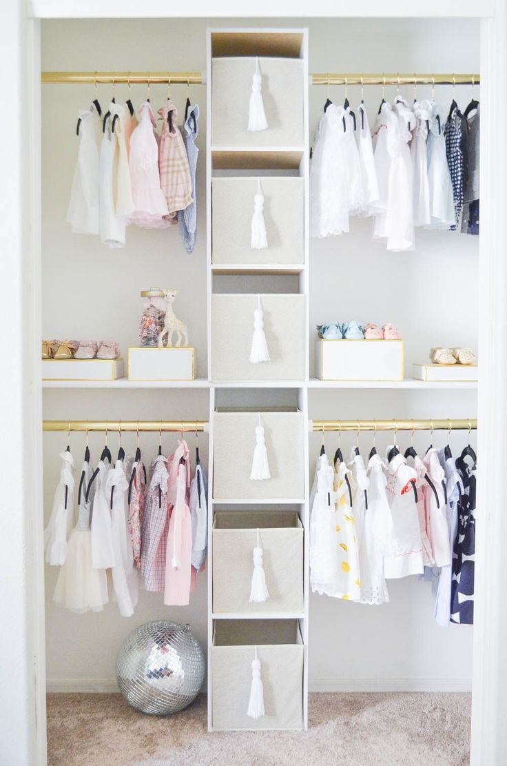 You'd never believe they created this nursery closet on a budget! It's so glam!