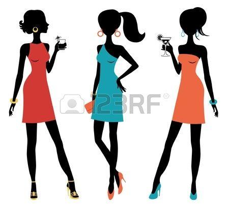 Een vector illustratie van drie kuiken vrouwen poseren op een feestje Stockfoto - 14396147
