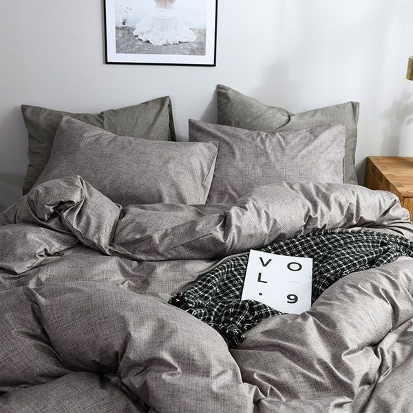 4 Colors Minimalism Bed Duvet Cover Pillowcase Set Solid Soft Home Daily Comforter Cover Set Single Twin Double Full Au Bed Duvet Covers Comforter Cover Bed