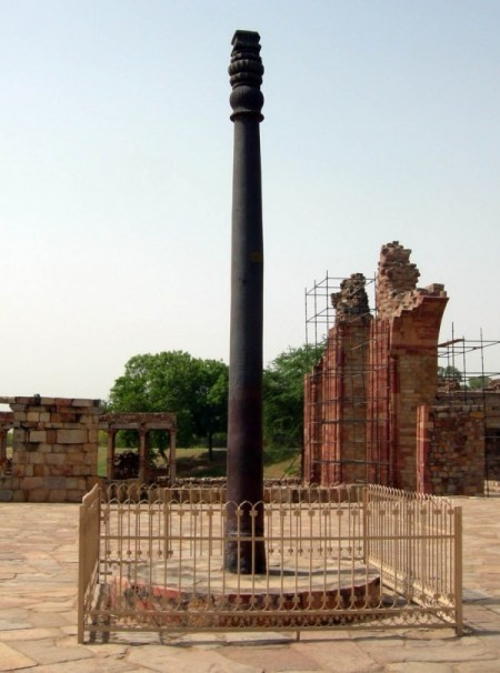 The Iron Pillar of Delhi or the Ashokan Pillar:  Standing at the center of the Quwwatul Mosque the Iron Pillar is one of Delhi's most curious structures. Dating back to 4th century A.D., the pillar bears an inscription which states that it was erected in honour of the Hindu god, Vishnu, and in the memory of the Gupta King Chandragupta II. How the pillar moved to its present location remains a mystery. The pillar is made of 98 per cent wrought iron and has stood 1,600 years without rusting.