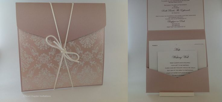 BRIDEWELL PALACE An elegant invitation using luxury lustre paper Blushing Boudoir from Cristina Re with a pink metallic 15x15 square pouch. This invitation comes with a matching envelope and includes a wishing well, map and rsvp card. PRICE:$8.95 https://www.facebook.com/NextChapterWeddingInvitations