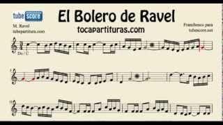 El Bolero de Ravel Partitura Lenta de Flauta Traversa Violin Oboe... para aprender el bolero en do