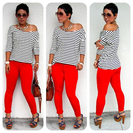 Red Leggings + DIY Top + Blue Suede Shoes   mimi g. style
