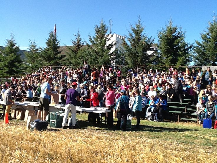 Students gather for the harvest demonstration