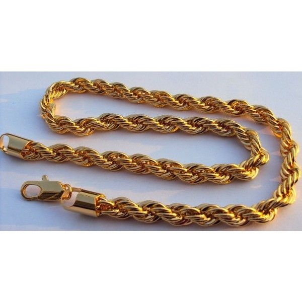 heavy! 59G Rich Men's 18K yellow gold GF thick neck necklace fine... via Polyvore featuring men's fashion, men's jewelry, men's necklaces, mens gold chain necklace, mens gold necklace, mens chains, mens watches jewelry and mens thick gold chains