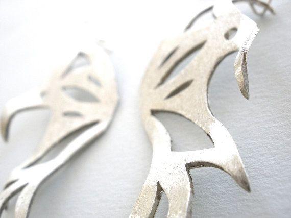 Halloween Handmade Silver Butterfly Earrings