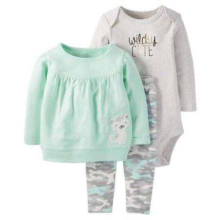 Just One You™Made by Carter's® Baby Girls' 3 Piece Top/Camo Legging Set - Mint/Grey