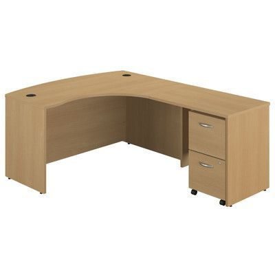 Bush Business Furniture Series C Right Bow Front L-Shape Executive Desk with Chair Accessory: Without Chair