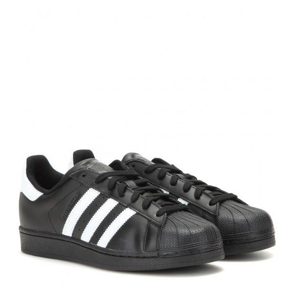 Adidas Superstar Foundation Leather Sneakers ($110) ❤ liked on Polyvore featuring shoes, sneakers, adidas, black, adidas shoes, black trainers, leather shoes and adidas sneakers