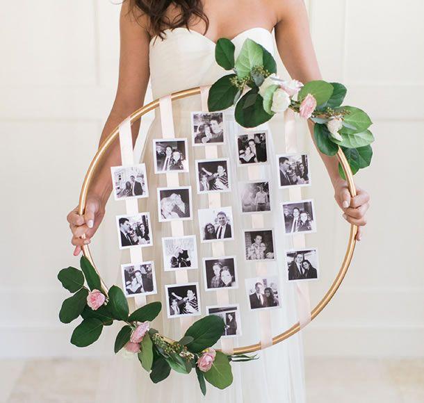 decoração de festa com vara l de fotos.
