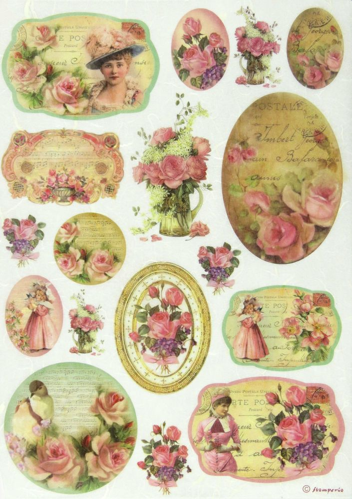 Ricepaper / Decoupage paper, Scrapbooking Sheets Tags with Vintage Girls