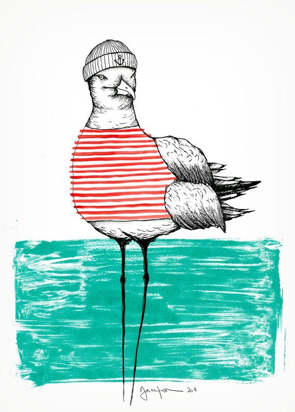 Seagull with stripes www.danigarreton.com