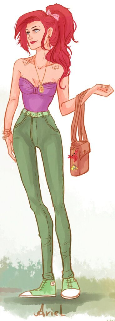 Love fashionable Disney princess Ariel, especially her hot hairdo! Illustration by Victoria Ridzel