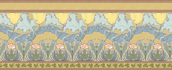 CFA Voysey c 1893  The Isis fill paper and coordinating frieze is an early exuberant example of Voysey's mastery of pattern design. It is from his large-scale early 1890's output and both the fill paper and the frieze may be used independently of each other.http://trustworth.com/
