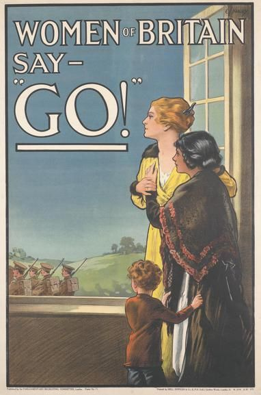 This poster, produced by E V Kealey in 1915 for the First World War British army recruitment campaign, is indicative of the increasingly sophisticated and commercialised strategies employed by recruiters to encourage the British male to enlist. Rather than using a simple call to arms, the poster, on the one hand, pictures the women of Britain as defenceless and in need of protection while at the same time appeals to the same women to press their men-folk into service for King and Country.