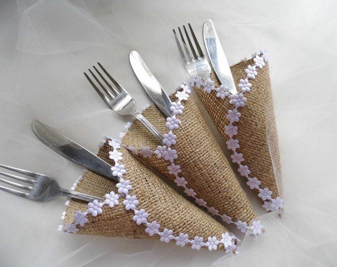 Silverware Holder Burlap Cutlery Holder Barn Wedding Wedding