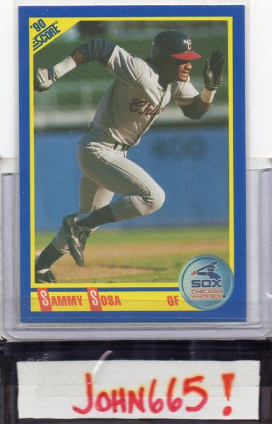 SLAMMIN' SAMMY SOSA - 1990 SCORE #558 ROOKIE CARD - MINT - CUBS - SOX - ORIOLES - FREE S/H