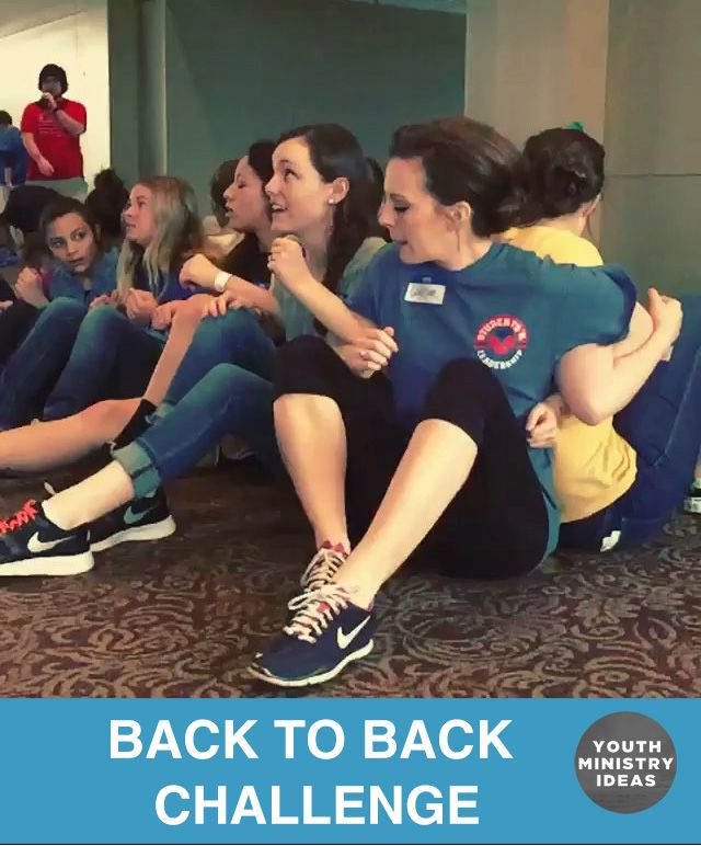 "Classic quick game or team building ""back to back"" challenge. Youth Ministry Ideas and Games."