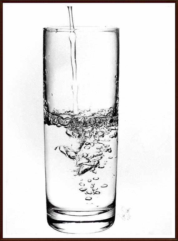 This is a graphite drawing! Amazing. Original Glass of Water Drawing by dezyc on Etsy,