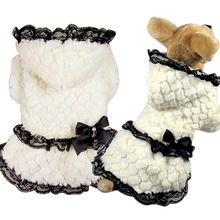 New bonito inverno quente de veludo jaqueta pet roupas roupa do cão de estimação pet fornecimentos de algodão quente vestidos cor de rosa jaqueta de cor branca para cães alishoppbrasil