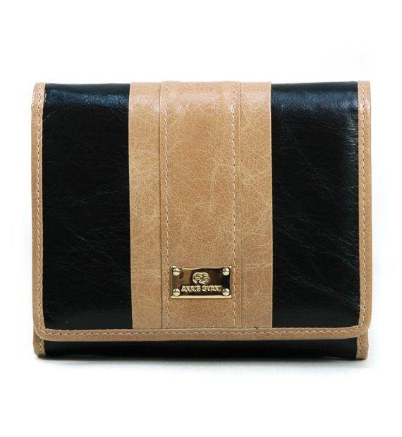 Women's Petite Classic Genuine Leather Tri-fold Wallet w/ Color Blocking Style – Black/Tan Color: Black/Tan – ResellerHub.store