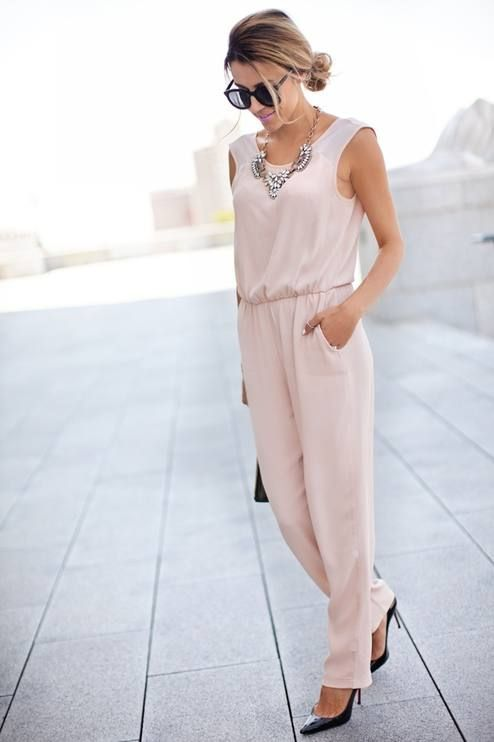 Zara Pale Pink Women's Summer Street Chic Jumpsuit