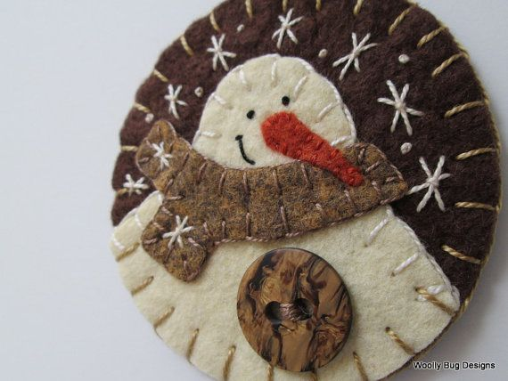 Wool Felt Ivory Snowman Ornament Heather Tan by WoollyBugDesigns