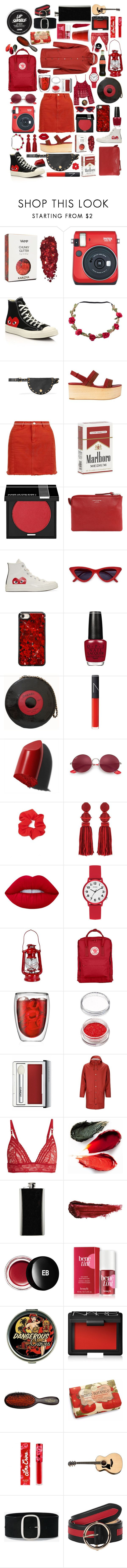 """""""Red and black festival essentials ❤️🖤x"""" by toni-grantt ❤ liked on Polyvore featuring Fujifilm, Play Comme des Garçons, See by Chloé, Whistles, MAKE UP FOR EVER, Acne Studios, Chanel, NARS Cosmetics, Bobbi Brown Cosmetics and Ray-Ban"""