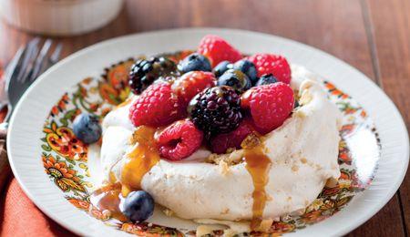 Salted nut caramel pavlova with fresh berries