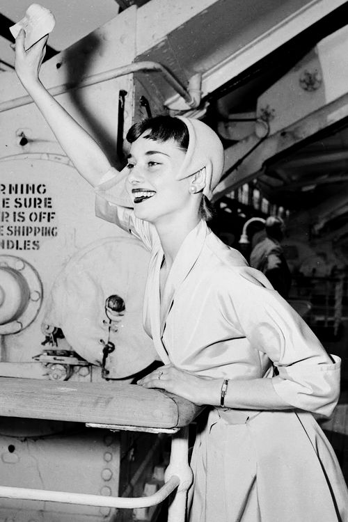 Audrey Hepburn sails for Europe to film Roman Holiday, 1952