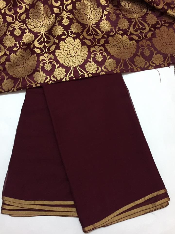 Pure chiffon saree with Banarasi brocade blouse