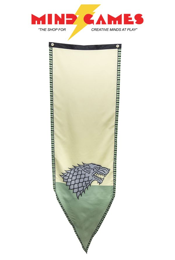 """An officially licensed Game Of Thrones banner, the Game Of Thrones Stark Winterfell Banner is 100% polyester and measures 18"""" x 60"""". Also included are 2 grommets on the top edges for easy hanging. An awesome banner to accompany your other Game Of Thrones merchandise, everyone will know where your loyalty lies!"""