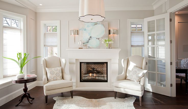 PURE by Ami Mckay | Projects | West Coast | Traditional | Transitional | White | Clean | Detailed | Cream | Fireplace | Faux Animal Rug | Wood Floors | French Doors | Wing Back Chairs | Styling | Interior Design | Decorate | Canadian | Photo by: janisnicolay.com