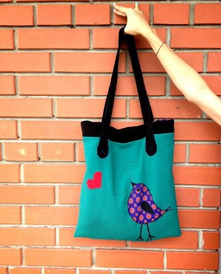 I've sewed a new bag with applique #handmade #bag