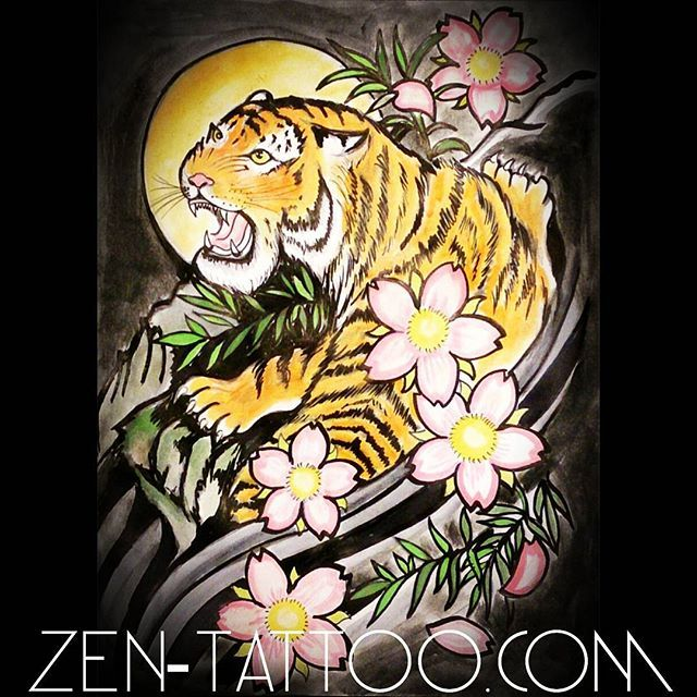 【zentattoo】さんのInstagramをピンしています。 《#tiger with #cherryblossoms , the #moon and #bamboo #tattoo available! :) Good for a #halfsleeve or #backpiece ! #zentattoo #Vancouver #Vancity #EastVan #fraserstreet #604 #yvr #art #artist #Asian #tigers》