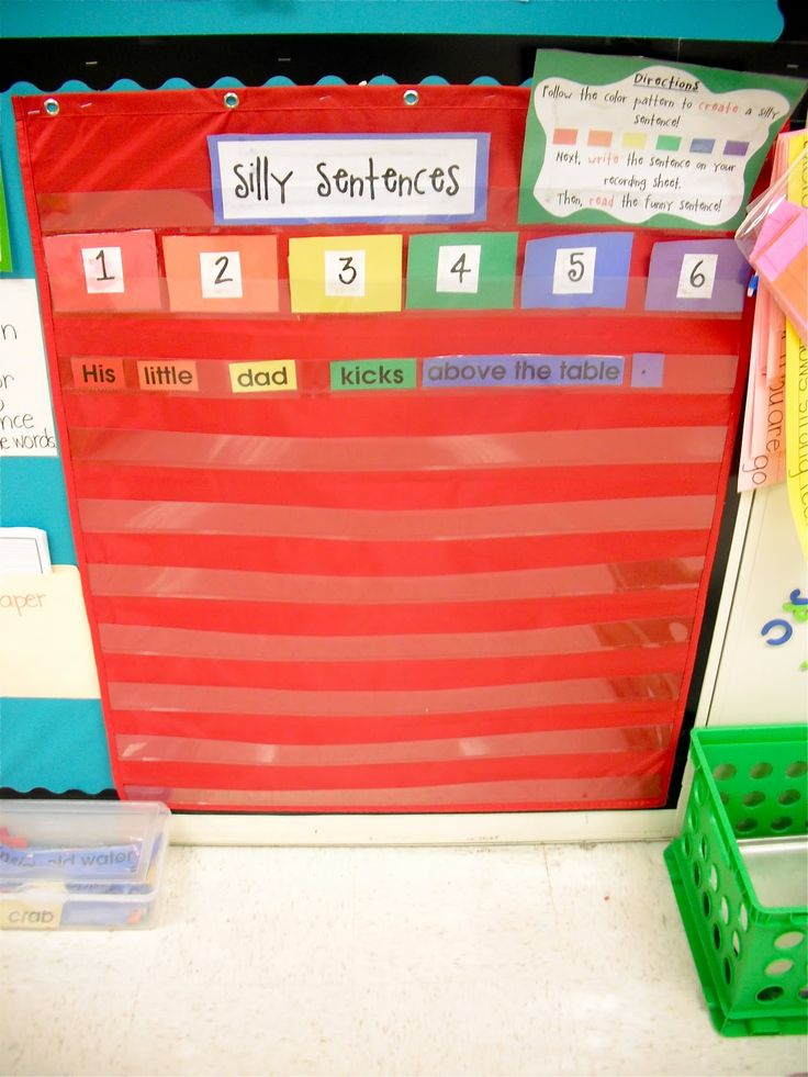"Great workstation idea: Silly Sentences- follow the color code to put the words in order to find out what the ""silly sentence"" is."