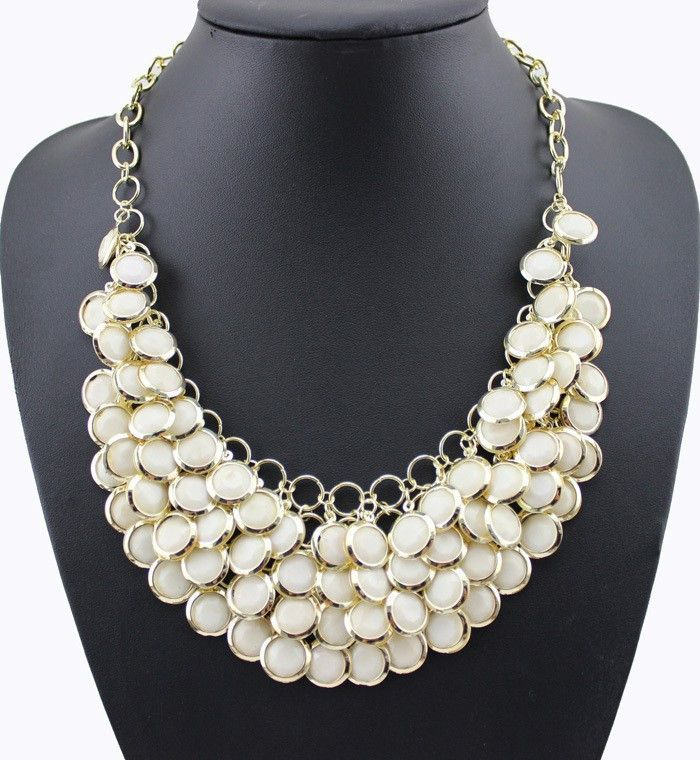 Necklaces : White Rhinestone Gold Plated Chain Multilayer Choker