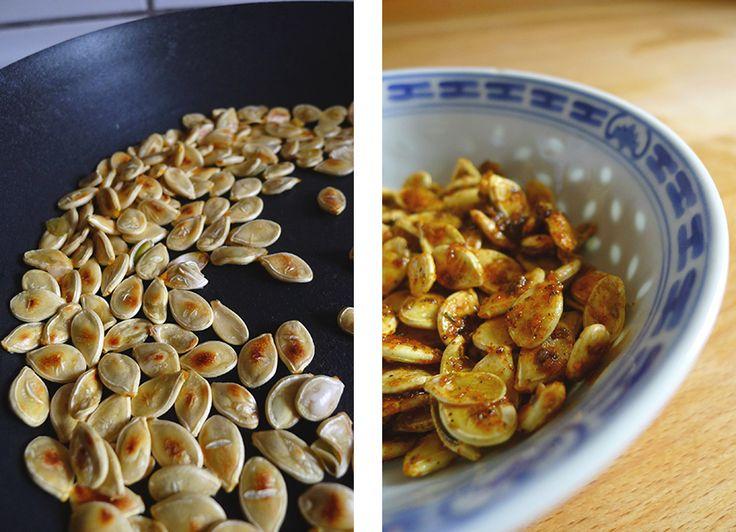 Stegte græskarkerner med varme krydderier