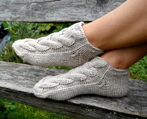 These Socks Slippers Are Knitted Of 50 Wool And 50 Acrylic