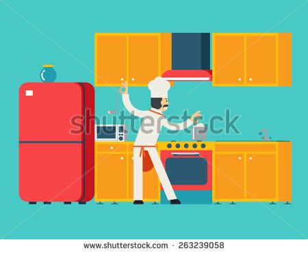 Chief Cook Food Dish Room Kitchen Furniture House Interior Icons and Symbols Flat Design Vector Illustration
