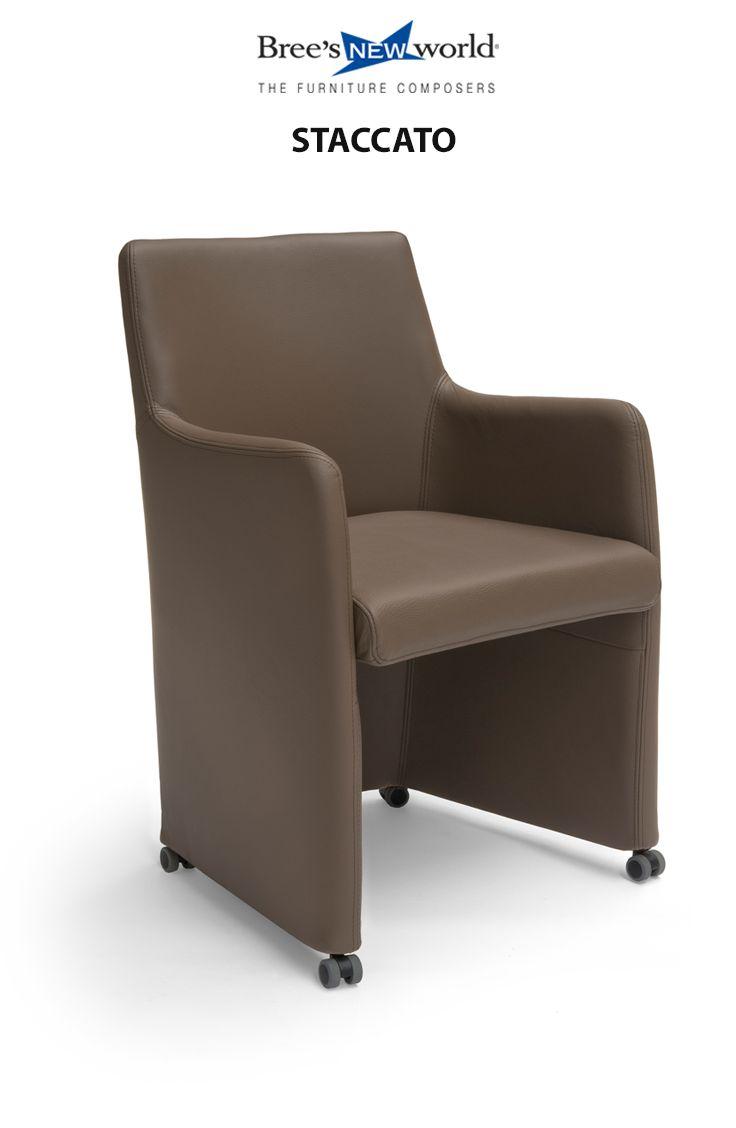Staccato: volledig gestoffeerde eetkamerstoel op wielen. Leverbaar in 6 verschillende leersoorten.  #diningchair #diningroom #interior #furniture #chair #meubels #interieur #modern #design